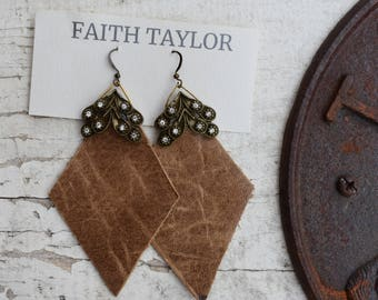 Genuine Leather & Brass Earrings Tan