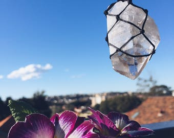 Raw clear Quartz macrame necklace, clear Quartz crystal Necklace