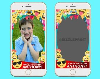 SNAPCHAT EMOJI GEOFILTER  Plus Family & Friends Message   Custom Personalized Snapchat Geofilter   Boy Birthday Party   Girl Birthday Party