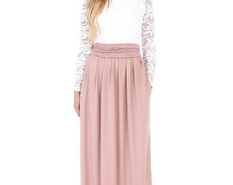 Maxi Dress Off White Top Lace/ Cappuccino Long Sleeves Pockets Sash