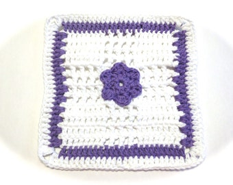 Hot Purple And White Flower Crocheted Square Dish Cloth