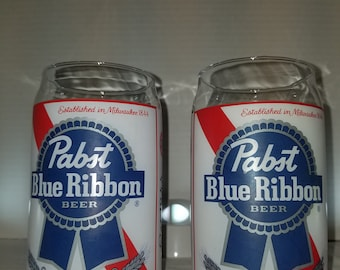Set of 2 Pabst Blue Ribbon Beer Can Style Glasses, Glass.