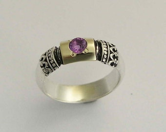Amethyst ring, Gemstone ring, Sterling silver ring, silver gold ring, filigree ring, engagement ring, purple stone ring - Forever R0115X