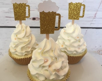 Beer mug cupcake topper - 21st birthday - 30th birthday - cheers to 30 years - dirty thirty - thirsty thirty - cupcake toppers