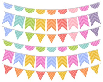 Colorful Bunting Clip Art - Rainbow Bunting Clipart - Bunting Graphics - Commercial Use - Instant Download