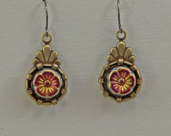 Handmade Dangle Earrings Brass and Glass Red Gold Flowers Niobium Hooks