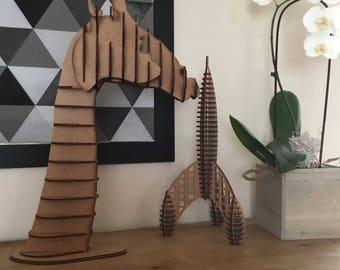 Giraffe head - wooden trophy