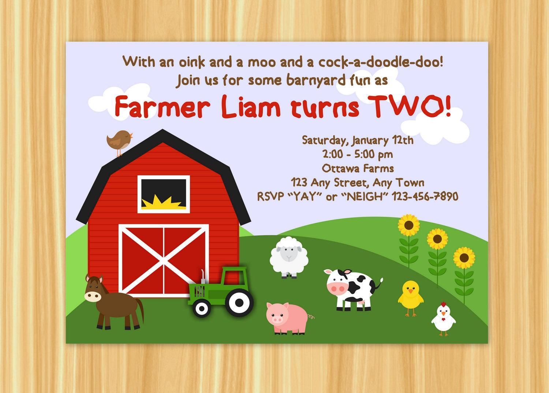 Farm Invitation Barnyard Invitation Farm Birthday Party