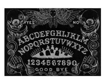 Ouija glass cutting board black