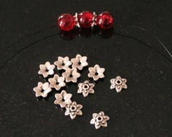 40 bead caps, antique silver. (réf:0010)