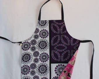 Reversible Child Apron, East-meets-West - Purple Bubbles and Pink Tie-Dye, Small Kids Apron