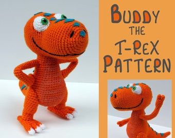 Crochet Pattern: Buddy the T-Rex Dinosaur Train Amigurumi PDF Instant Download