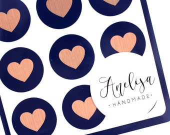 Envelope Seals - Wedding Invitations - Rose Gold and Navy - Navy Label - Wedding Stickers- Gift Wrapping - Birthdays - Wedding - Seals