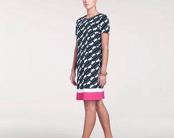 Sample Sale //Bridgette Printed Silk Dress // Short Sleeve Dress // Knee Length Dress//Same Day Shipping