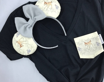 Bambi and Thumper Matching Pocket Tee & Minnie Mouse Ears Combo
