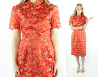 50s Cheongsam Brocade Dress Orange Satin Asian Wiggle Dress Short Sleeves Vintage 1950s Small S Pinup Rockabilly