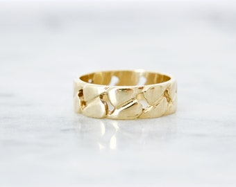 Unique Wedding Band, Vintage Wide Band Ring, Nature Inspired Ring, Cigar Band, Pinky Ring, 14k Yellow Gold Estate Jewelry, Cuff Ring, Size 6