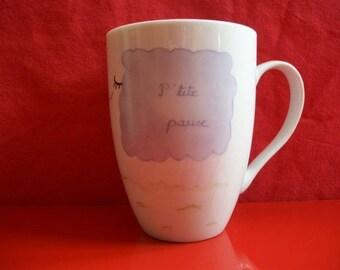"Mug decorated with a ""Sheep"", Limoges porcelain, hand painted mug mug, domed mug, mug, tea, coffee mug, chocolate mug"