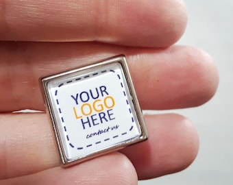 Square Metal Lapel Pin -Add Your Logo -Great for Promotional Items, Giveaways, Family Reunion Souvenirs -Full Color Printing - Made to Order