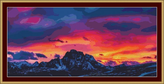 Dolomite Sunset Cross Stitch Pattern - Downloadable Pdf Files