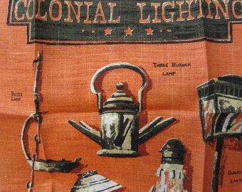 Kay Dee 100 Percent Pure Linen Colonial Lighting Hand Prints Vintage Kitchen Towel