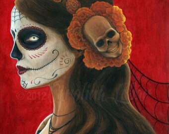 "Art Print Day of the Dead Sugar Skull with Marigolds painting 8""x10"" art print of ""Señora de los Muertos"""