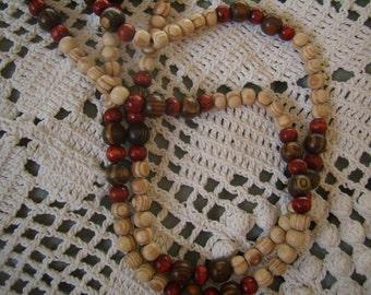 Pearl necklace, Vintage 1970's wooden balls