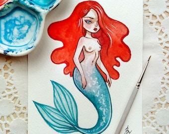 Original watercolor art in the format of a postcard. The Little Mermaid 3