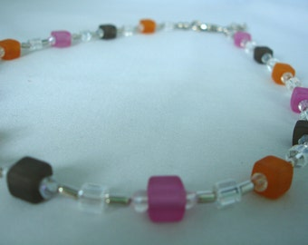 Lilac, Orange, Turquois Colored Necklace - Cube, Diamond shaped beads - Glass, Acrylic Beads
