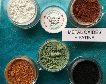 Metal Oxides Patina Pigments Palette Powders for Polymer Clay and Mixed Media Set of 5