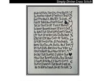 PDF E pattern emailed Wiccan Rede Cross Stitch Pattern Sampler 114