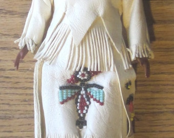 Vintage 11 Inch Native American Indian Doll Open Close Eyes 1950 Era