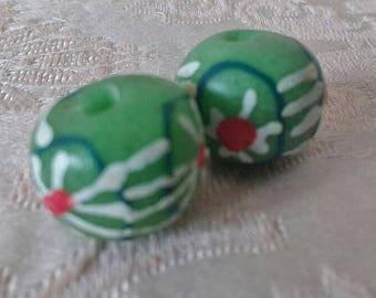 African Beads, Ghana Recycled Glass, Round, 13-14 mm, Pack of 2, Green