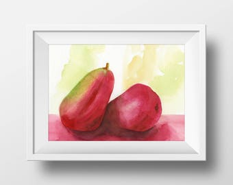 Red Pear Print from an Original Watercolor