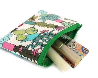 Coin Purse - Coin Bag - Change Purse - Small Cosmetic Bag - Zipper Pouch - Change Pouch in Succulent