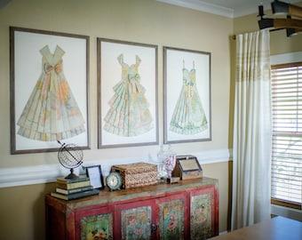 "GRAB BAG Hand Folded Map Dress - 24"" x 36"" - Choose your map! - Nursery Wall Decor Art"
