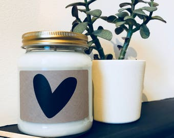 Heart Print Scented Natural Soy Candle