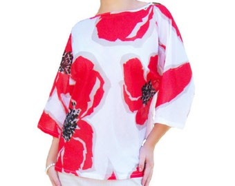 Cotton Red Flowered Blouse || Loose Fit White Blouse || Bias Cut Blouse || Bet-Wings White Blouse || Batiste Loose Blouse