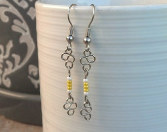 Wire-Worked Yellow Earrings