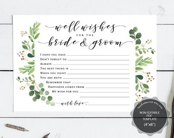 Well Wishes for the Bride and Groom card template, Instant download printable PDF, marriage advice, greenery watercolor theme (TEW449_3)