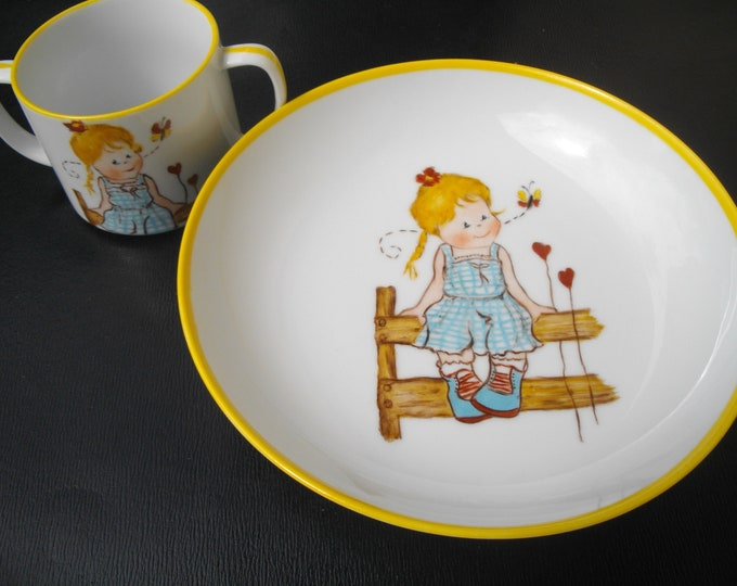 child's plate / child Cup / handpainted porcelain / girl / birth /ensemble birth gift