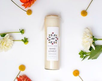 MAKE LOVELY Mantra Candle - Geranium Rose - 16 oz - all natural, eco-friendly 100% soy wax candle