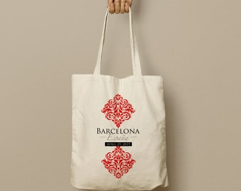MAYRA Custom Canvas Tote, Barcelona Spain, Red and White Damask, Wedding Favor Bag, Swag Bag, Custom Tote. Bridesmaid Gift, Welcome Gift