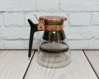 Vintage Small Mid Century Carafe With Copper Lid