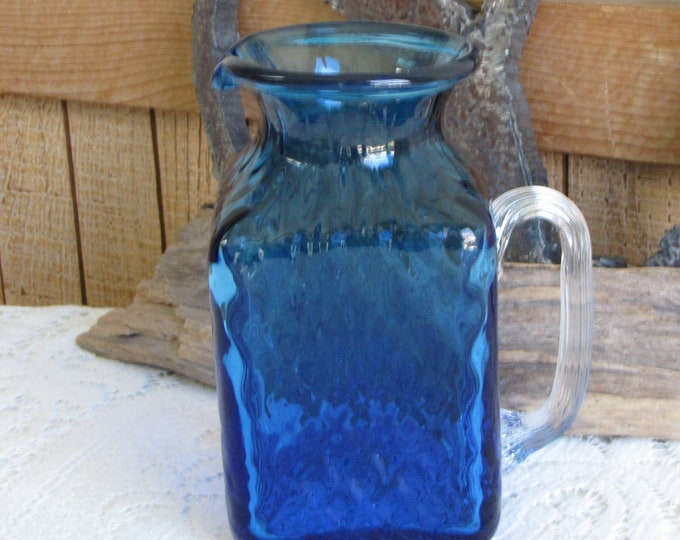 Cobalt Blue Square Small Pitcher Pilgrim Glass Vintage Kitchens and Pitchers