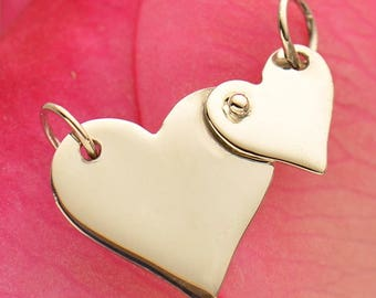 Sterling Silver Two Riveted Hearts Festoon -Double Heart-Love -Gift Idea- Anniversary-Supplies