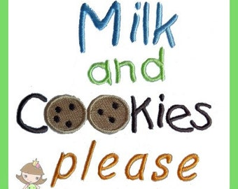 Milk and Cookies please embroidery design