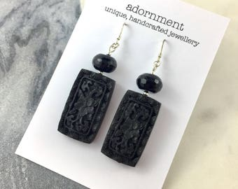 Black onyx and carved cinnabar earrings with sterling silver earring hooks