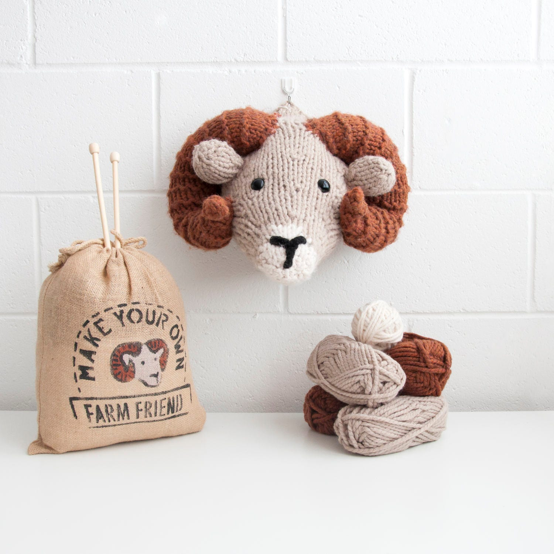 Faux Ram Knitting Kit Make Your Own Farm Friend Diy Trophy