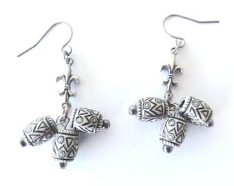 Grey Beaded dangle earrings